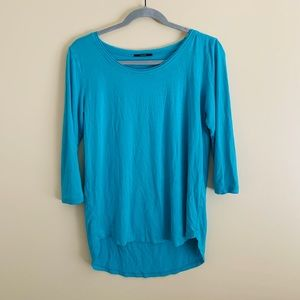 Tahari Quarter-length Sleeve Teal Blue Top